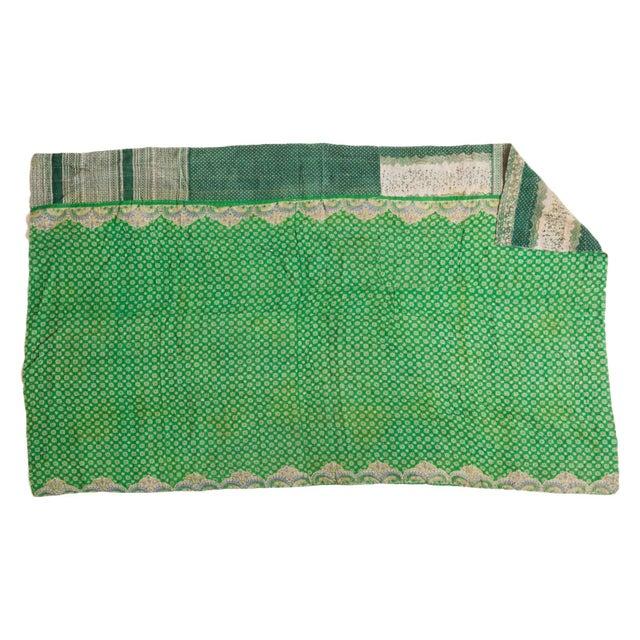 Vintage Indian Green Kantha Quilt - Image 1 of 2