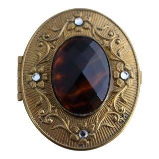Vintage Tortoise & Crystal Stone Brass Oval Box