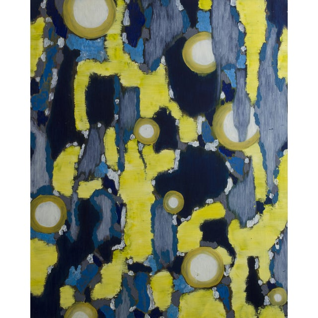 "Blue and Yellow ""Lumieres"" French Painting - Image 1 of 3"