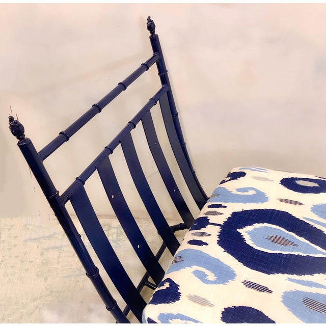 Faux Bamboo Chaise in Ikat - Image 3 of 5