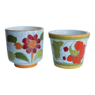 Floral Italian Art Pottery Planters - A Pair
