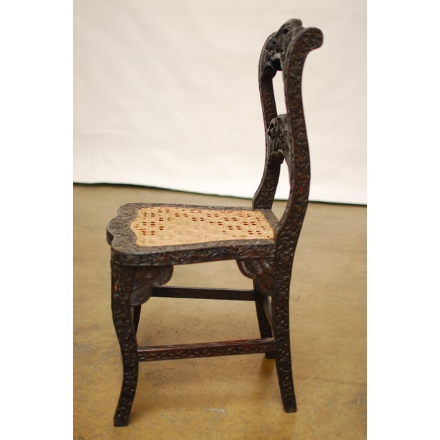 Anglo Indian Carved Rosewood Desk Chair - Image 4 of 7
