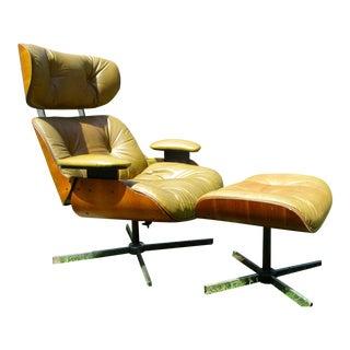 Frank Doerner Mid-Century Modern Chair & Ottoman Set Selig Plycraft Style
