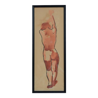 Vintage Female Nude Figurative Watercolor Painting, 1950's