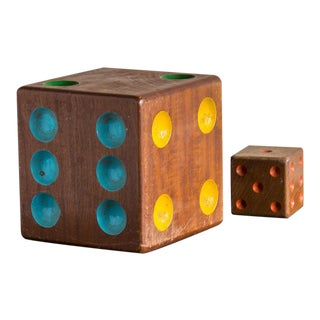 Collection of Two Vintage Wooden Dice from France c.1940