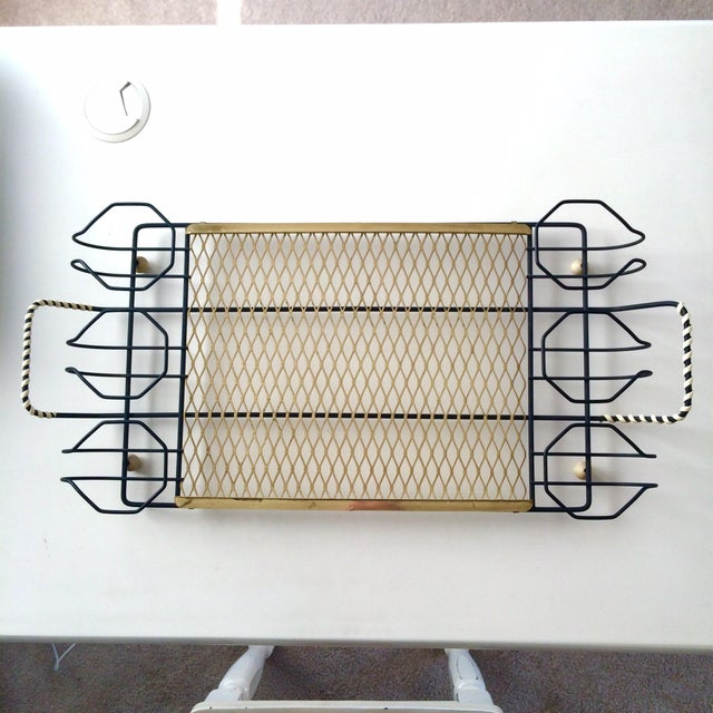 Image of Mid-Century Metal 6-Glass Serving Tray