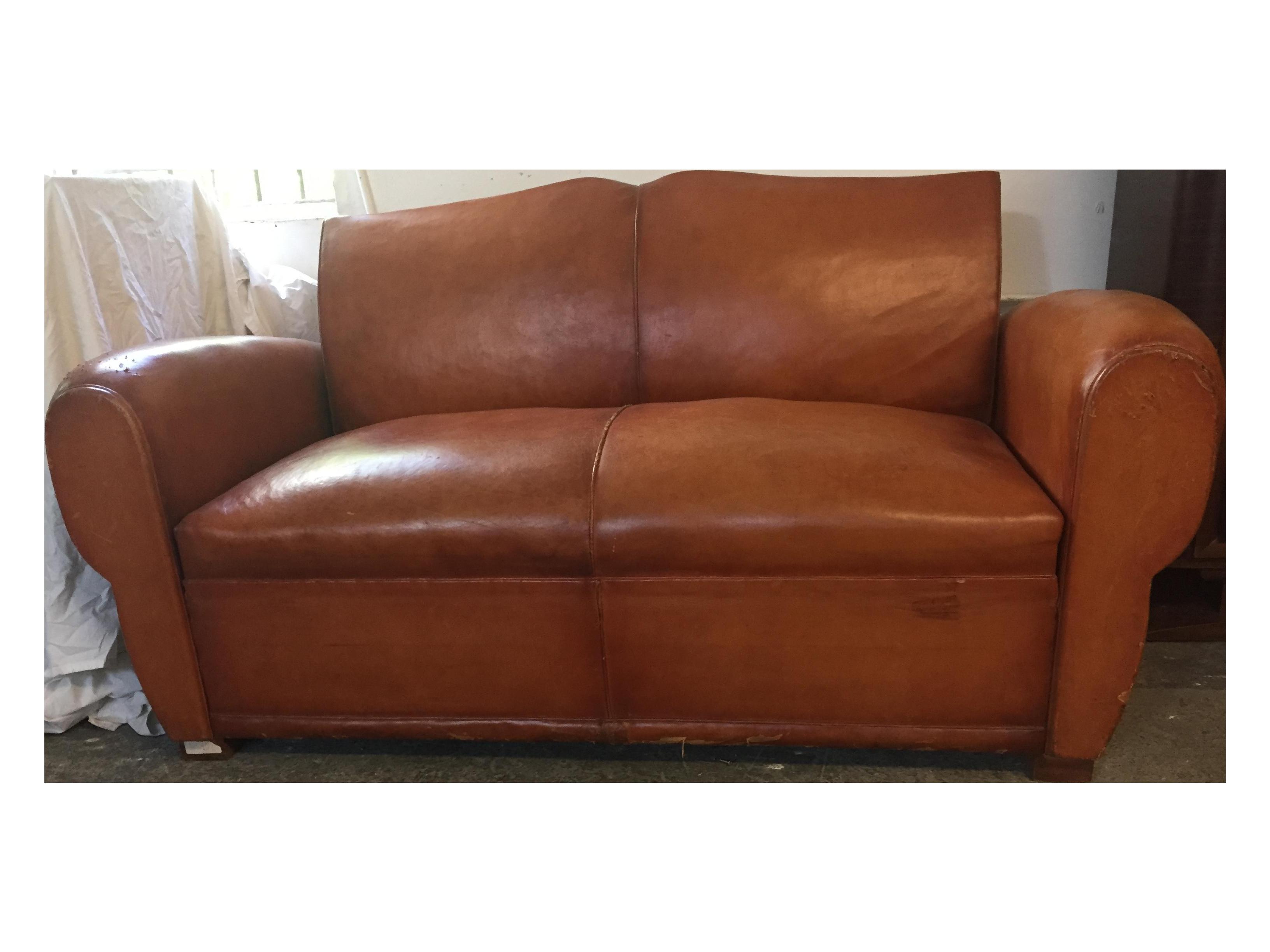 1940s Vintage Brown Leather Sleeper Sofa Chairish