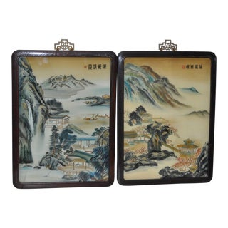 Chinese Landscape Reverse Glass Paintings - A Pair
