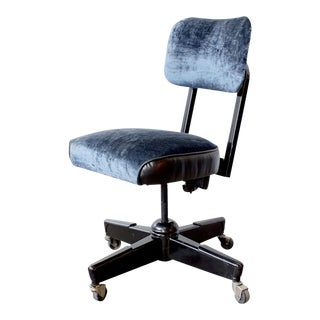 1960s Vintage Black & Blue Velvet Task Chair