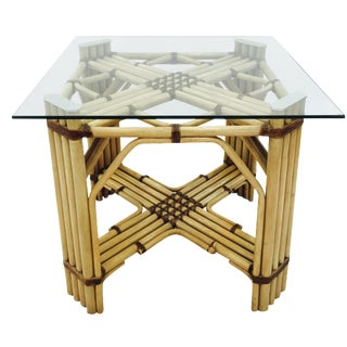 Mid-Century Rattan & Glass Top Dining Table