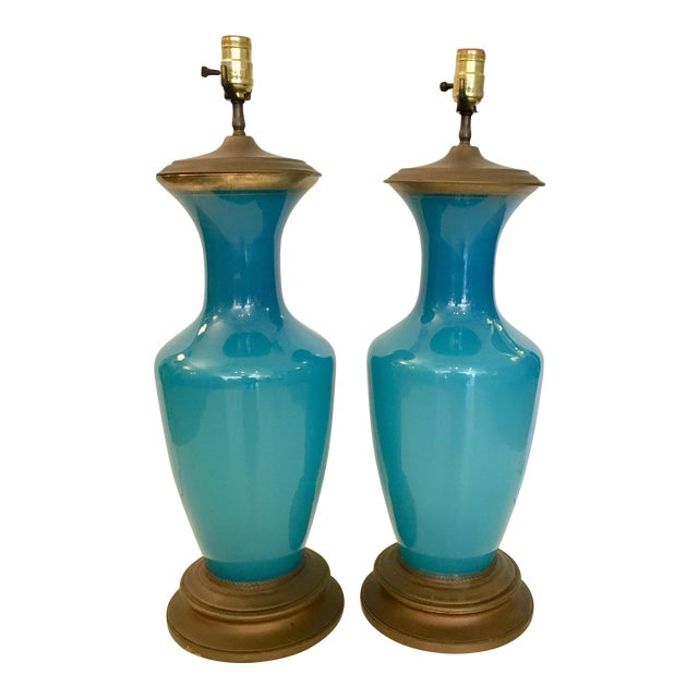 Image of Vintage Turquoise Glass & Brass Table Lamps - a Pair