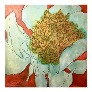 Neicy Frey Aquamarine Peony on Carnelian Original Painting