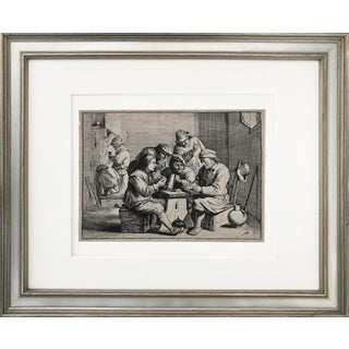 "17th C. Etching David Teniers "" The Card Players"" Tavern Scene"