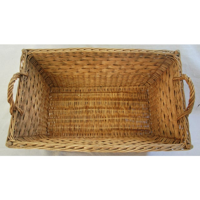 Early 1900s French Willow and Wicker Market Basket - Image 5 of 9
