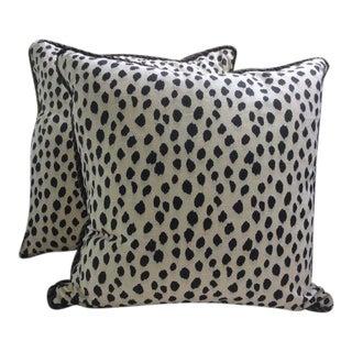 Ballard Designs Pillows in Black & Cream Animal Print Linen - a Pair