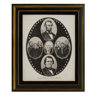 """THE DEFENDERS OF THE UNION"" CIVIL WAR BROADSIDE WITH PORTRAITS OF ABRAHAM LINCOLN, ANDREW JOHNSON, GEORGE WASHINGTON, 6 CIVIL WAR GENERALS & ADMIRALS"