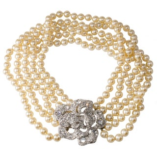 Kenneth Jay Lane Rose Clasp Faux-Pearl Necklace