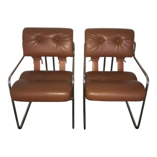 Guido Falescini Mid-Century Orange & Chrome Tucroma Chairs - A Pair