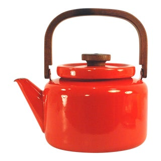 Mid-Century Enamelware Tea Kettle with Bentwood Handle