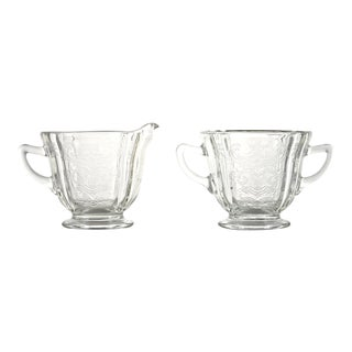 Etched Floral Cream & Sugar Set - A Pair