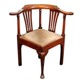 Georgian Fruitwood Corner Chair with Drop Seat