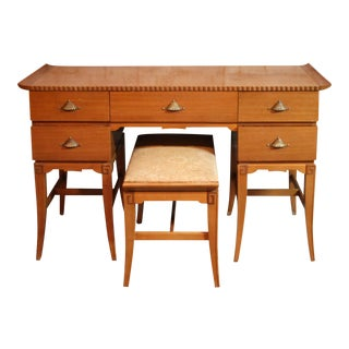 Rway Blonde Mahogany Pagoda & Greek Key Mid-Century Vanity With Bench