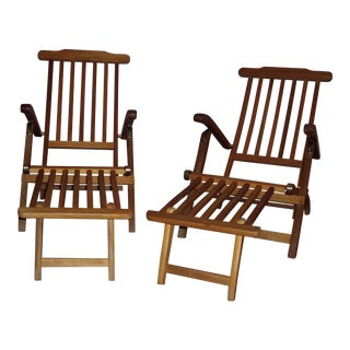 Wooden Deck Chairs - A Pair