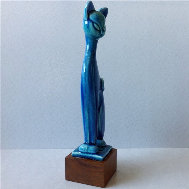 Image of Royal Haeger Mid Century Modern Blue Cat