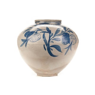 Antique Korean Blue & White Glazed Pot C.1920s