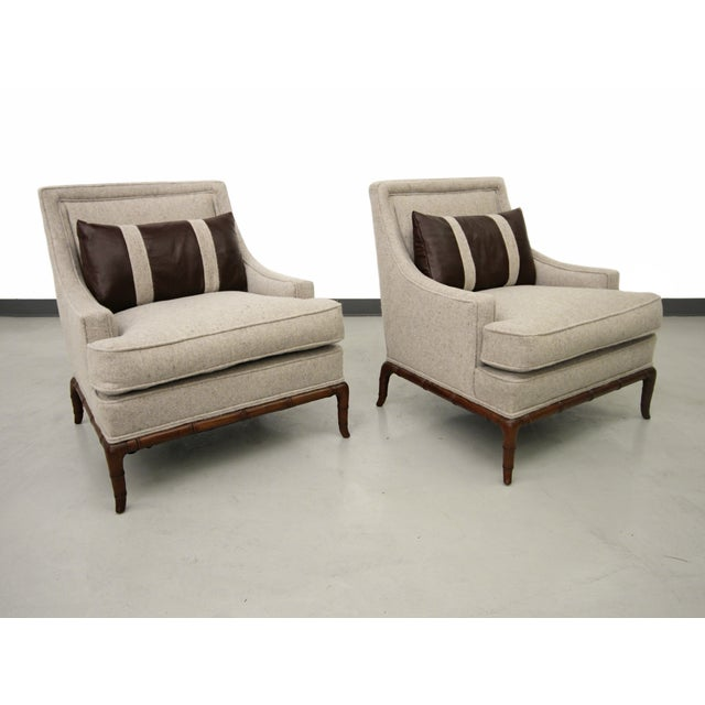 Image of Bamboo Base Mid-Century Lounge Chairs - A Pair