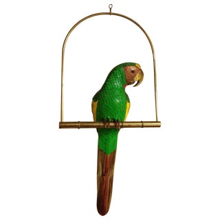 Sergio Bustamante Style Parrot on Perch Brass, Copper & Leather