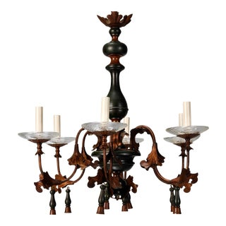 Italian Wood and Gilt Metal Six-Arm Chandelier