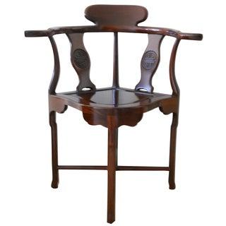 Chinese Hardwood Corner Chair