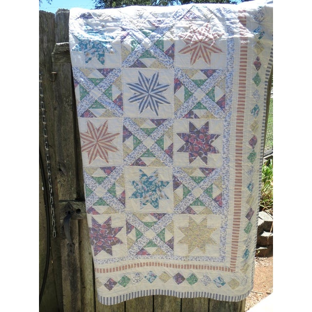 Vintage Feedsack Star Quilt - Image 2 of 8