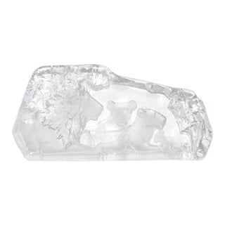 Mats Jonasson Lioness & Cubs Crystal Sculpture