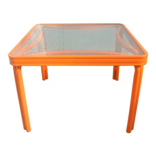 Brown Jordan Glass Top Side Table