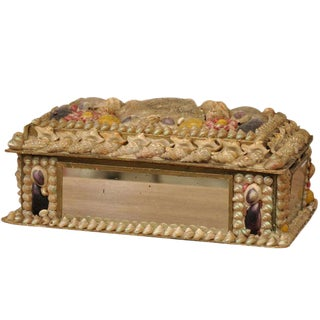 Antique English Shell Decorated Box