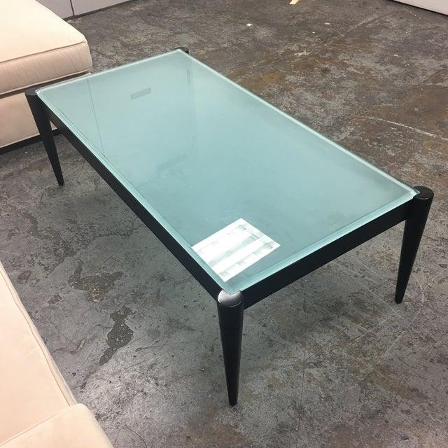 Black Glass Top Coffee Table: Black Wood & Frosted Glass Top Coffee Table