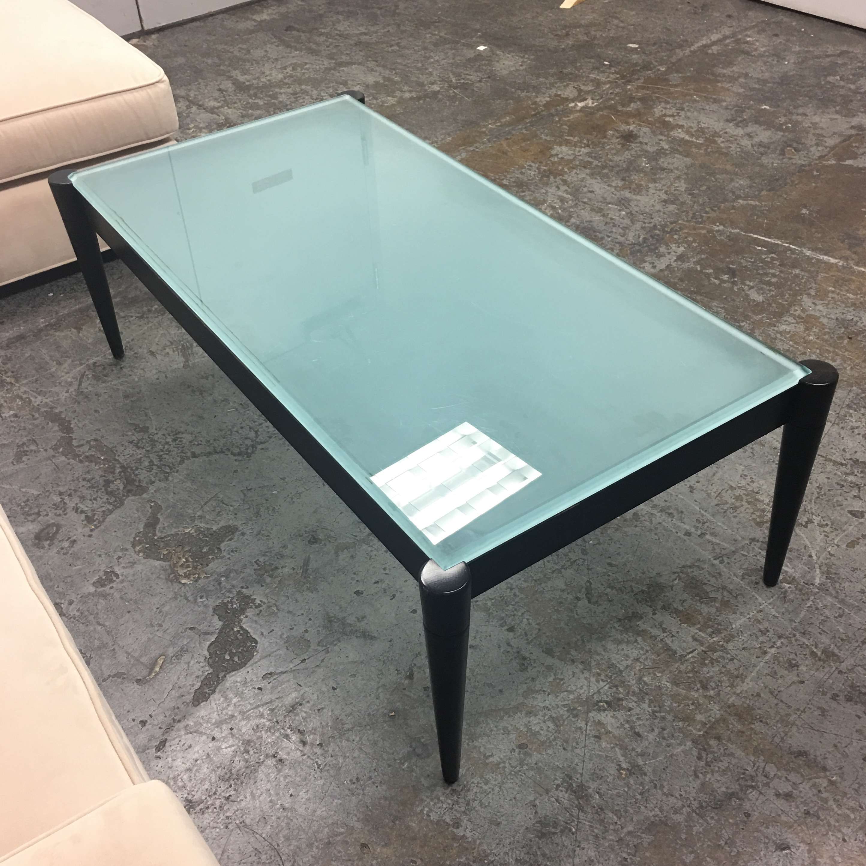 Black Wood U0026 Frosted Glass Top Coffee Table   Image 4 ...