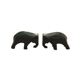 Green Mid-Century Modern Elephant Bookends - Pair
