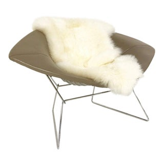 Harry Bertoia for Knoll Diamond Chair With Leather & Sheepskin