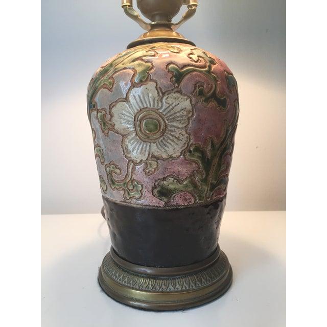 Image of Asian Pottery Lamp Bronze Base-Silk Shade
