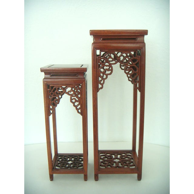 Ornate Chinese Rosewood Display Stand - Image 8 of 8