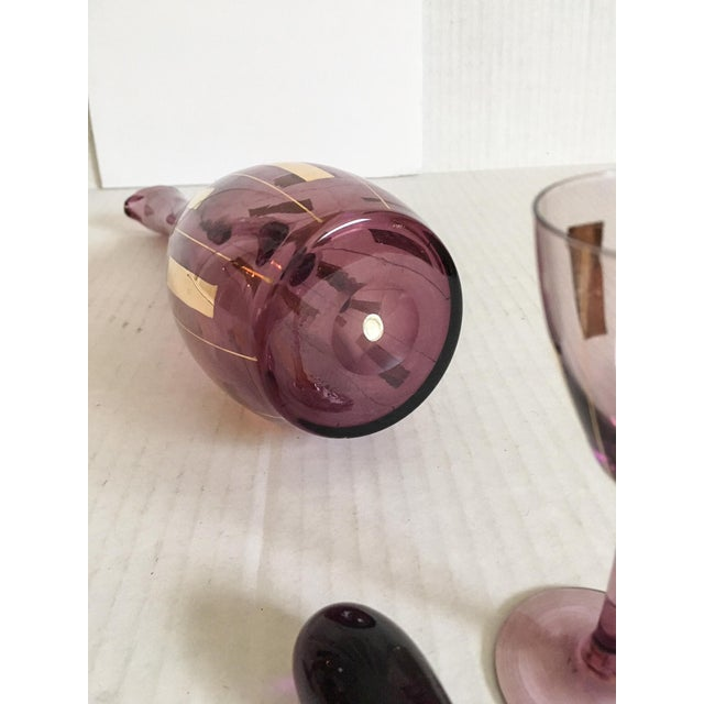 Amethyst & Gold Mid-Century Modern Cordial Set for Two - Image 6 of 7