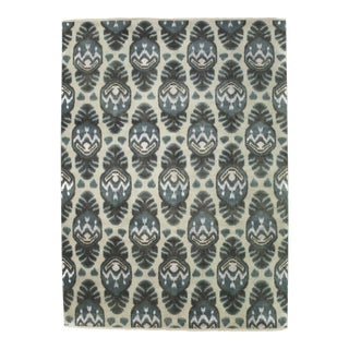Ikat Hand Knotted Area Rug - 9' X 12'3""