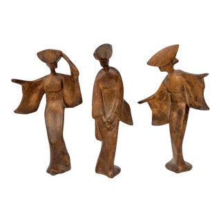 Mid-Century Cast Iron Geisha Figures