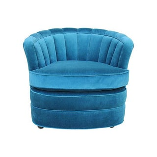 Peacock Velvet Barrel Chair