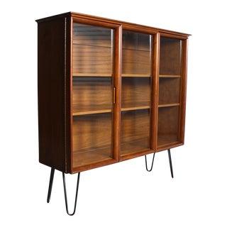 Mid-Century Modern Hairpin Legs Display Cabinet