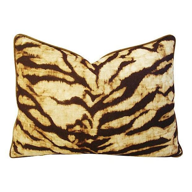 Schumacher Tiger Linen/Scalamandre Velvet Pillow - Image 1 of 4