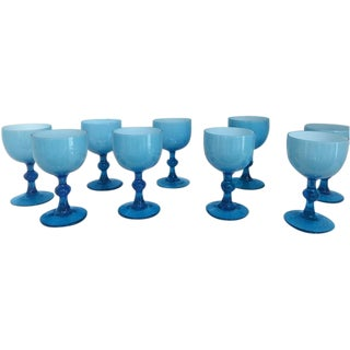 Blue Opaline Milk Glass Goblets - Set of 9